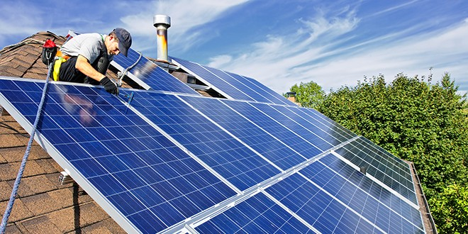 Polycrystalline solar panel installation on roof